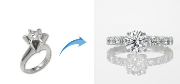 ジュエリーリフォーム事例 立て爪リングからちょっと華やかな指輪へ