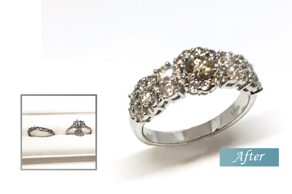 ジュエリーリフォーム豪華なブラウンダイヤモンドリング