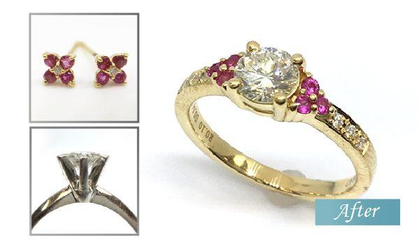 リフォーム ダイヤとルビーの指輪