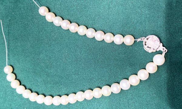 糸の切れた真珠ネックレス