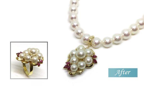 真珠とルビーのペンダント