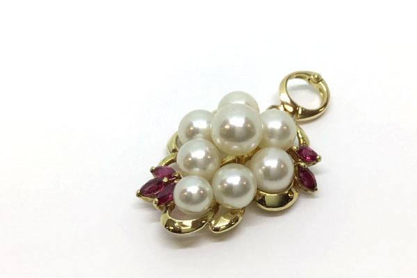 真珠とルビーのペンダント リフォーム