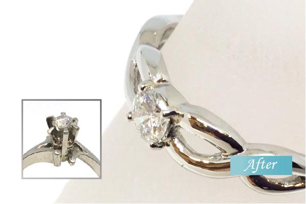 爪の高いダイヤの指輪をオシャレで使いやすいリングにリフォーム