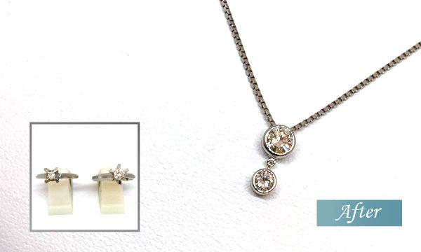 2本のダイヤリングをまとめてオシャレなプチネックレスにリフォーム