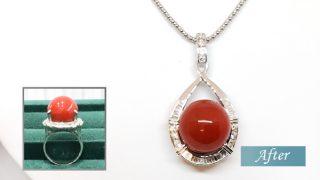 血赤サンゴの指環をネックレスにリフォーム