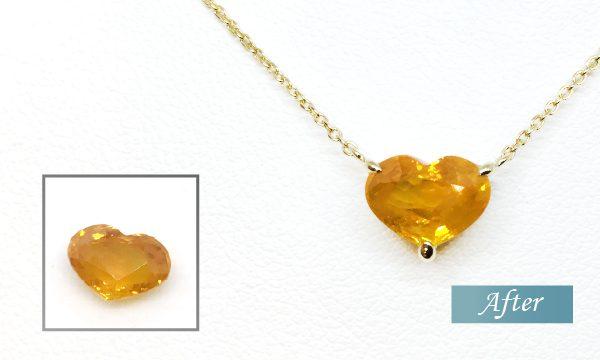 ハート型オレンジサファイア プチネックレスオーダーメイド