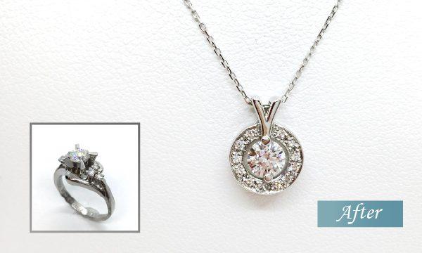 ダイヤモンド立て爪リングをネックレスにリフォーム