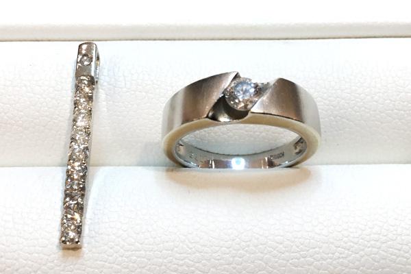 ダイヤモンドリングとペンダント(リフォーム前)
